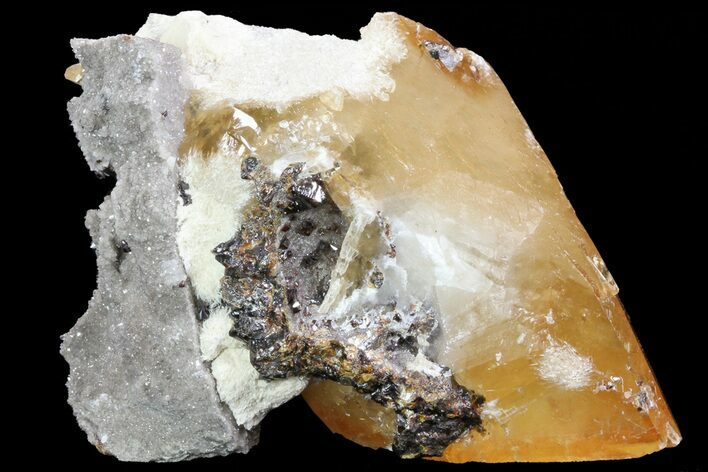 "4.6"" Golden Calcite Crystal with Sphalerite and Barite - Elmwood Mine"