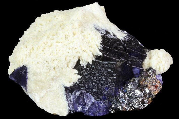 "3.3"" Cubic Fluorite Crystals with Barite and Sphalerite - Elmwood Mine"