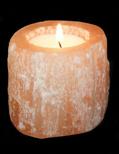 Wholesale Box: Orange Selenite Tea Candle Holder - 39 Pieces