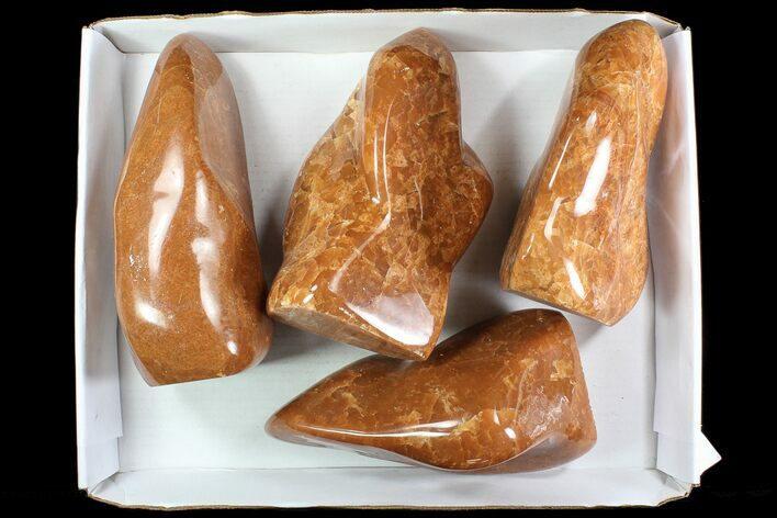 Lot: 30 Lbs Free-Standing Polished Orange Calcite - 4 Pieces