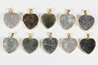 Buy Wholesale Lot: Druzy Amethyst Heart Pendants - 10 Pieces - #78433