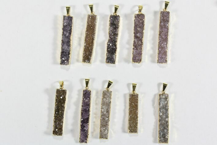 Wholesale Lot: Druzy Amethyst Pendants - 10 Pieces