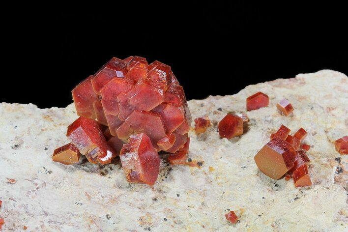 Large, Lustrous, Ruby Red Vanadinite Formation - Morocco