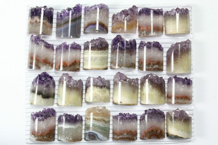 Wholesale Lot: Amethyst Half Cylinder (For Pendants) - 24 Pieces