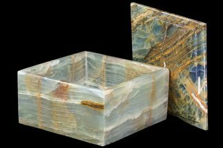 "5.95"" Wide Blue Calcite Jewelry Box For Sale, #84119"