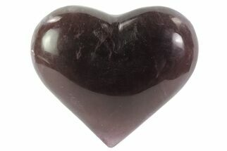 "3.1"" Carved & Polished Purple Fluorite Heart - Argentina For Sale, #84185"