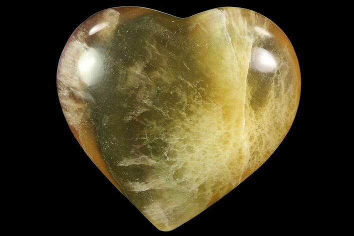 "2.9"" Carved & Polished Banded Fluorite Heart - Argentina"