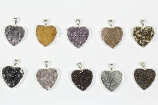 Buy Wholesale Lot: Druzy Amethyst Heart Pendants - 10 Pieces - #84082