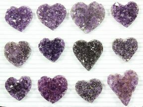 Wholesale: Dark Purple Amethyst Heart Clusters (12 Pieces) For Sale, #84062