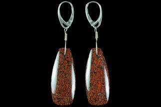 Large, Red, Agatized Dinosaur Bone (Gembone) Earrings  For Sale, #84765