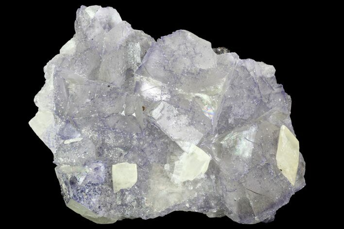 "5.9"" Cubic Fluorite And Calcite Crystals on Matrix - Elmwood Mine"