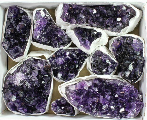 Wholesale Lot: Uruguay Amethyst Clusters (Grade A) - 10 Pieces