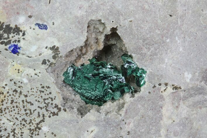 Malachite After Azurite Crystal Cluster on Druzy Quartz - Morocco