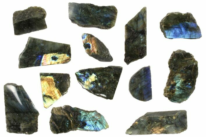 Wholesale: 1kg One Side Polished Labradorite - 13 Pieces