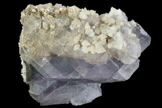 "4.2"" Calcite Crystals On Purple, Cubic Fluorite - Pakistan For Sale, #90656"