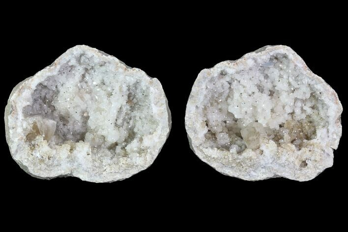 "3.6"" Keokuk Quartz and Calcite Geode Pair - Illinois"