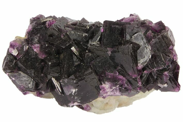 "3.8"" Dark Purple Cubic Fluorite and Quartz - Excellent Quality"