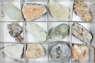 Mixed Indian Mineral & Crystal Flat - 12 Pieces For Sale, #95624