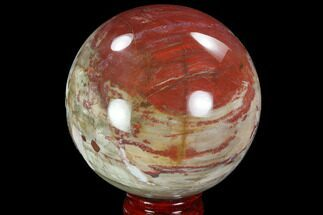 "3.75"" Colorful, Petrified Wood Sphere - Madagascar For Sale, #98465"