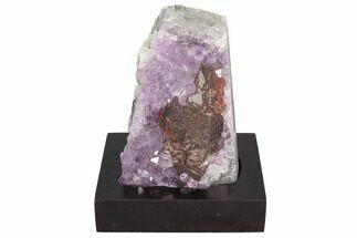"Buy 5.4"" Sparkly Purple Amethyst Cluster On Wood Base - Uruguay - #100189"