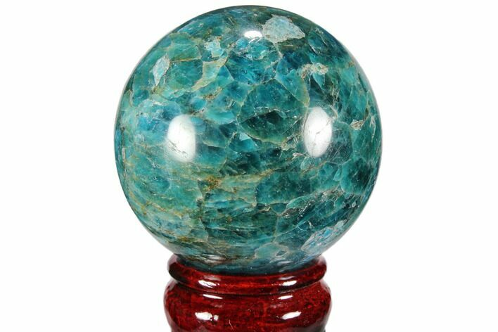 "2.5"" Bright Blue Apatite Sphere - Madagascar"