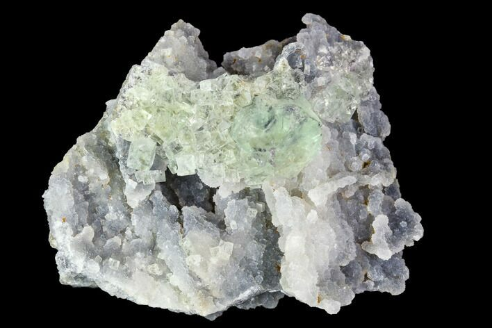 "2.4"" Green Fluorite Crystals on Druzy Quartz - Mongolia"