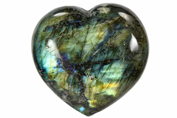 "3.3"" Flashy Polished Labradorite Heart"