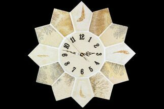 "16"" Limestone Clock With Fossil Fish & Dendrites - Solnhofen Limestone For Sale, #103625"
