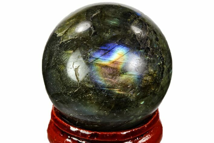 "1.25"" Flashy, Polished Labradorite Sphere - Great Color Play"