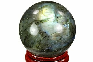 "1.4"" Flashy, Polished Labradorite Sphere - Great Color Play For Sale, #105782"