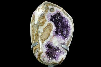 "Buy Unique 10.5"" Amethyst Geode on Metal Stand - Uruguay - #107752"