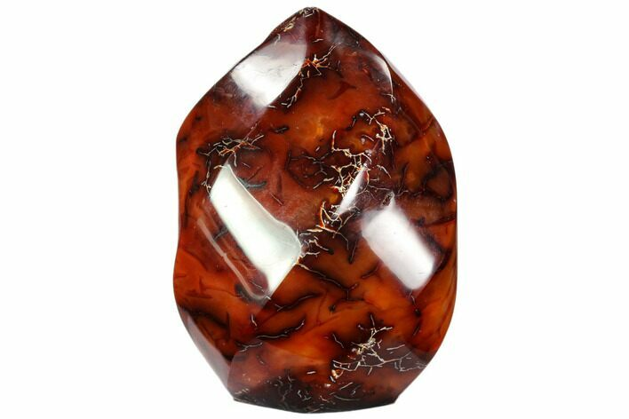 "4.5"" Polished Carnelian Agate ""Flame"" Sculpture - Madagascar"