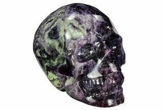 "Buy 3.7"" Carved, Purple & Green Fluorite Skull - #108769"