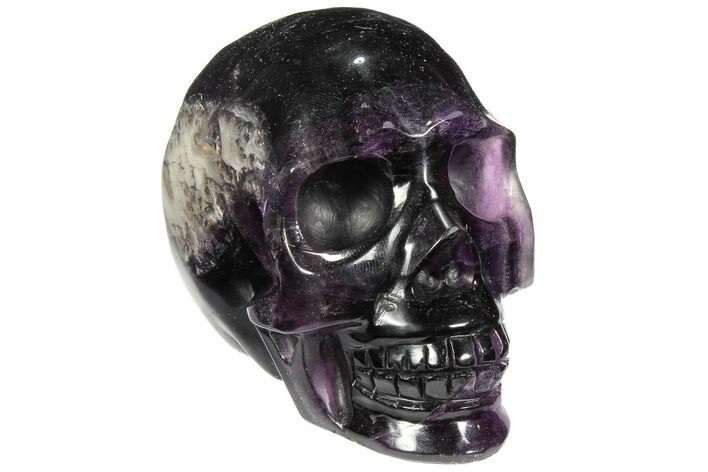 "3.6"" Carved, Banded Purple Fluorite Skull"
