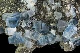 "2.7"" Blue Cubic Fluorite on Quartz - China - #111909-2"