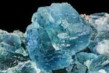 "4"" Blue-Green Stepped Fluorite on Quartz - China - #112189-1"