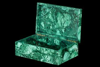 "Buy 5.9"" Flowery, Hinged Malachite Jewelry Box - Congo - #113392"