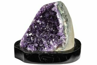 "Buy 4.7"" Wide, Dark Purple Amethyst Cluster On Wood Base - Uruguay - #113926"