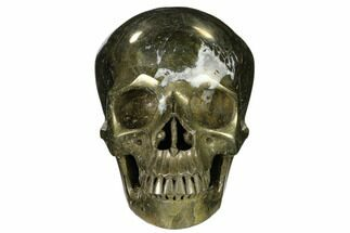 "Buy 6"" Realistic, Carved and Polished Pyrite Skull  - #116347"