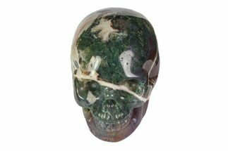 "Buy 2"" Realistic, Polished Moss Agate Skull  - #116551"
