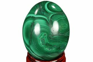 "Stunning 1.7"" Polished Malachite Egg - Congo For Sale, #115298"