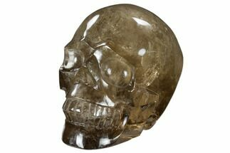 "5.8"" Carved, Smoky Quartz Crystal Skull - Madagascar For Sale, #118112"