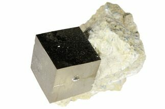 ".74"" Shiny, Natural Pyrite Cube In Rock - Navajun, Spain For Sale, #118274"
