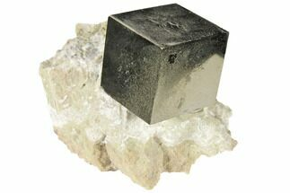 "1.05"" Shiny, Natural Pyrite Cube In Rock - Navajun, Spain For Sale, #118253"