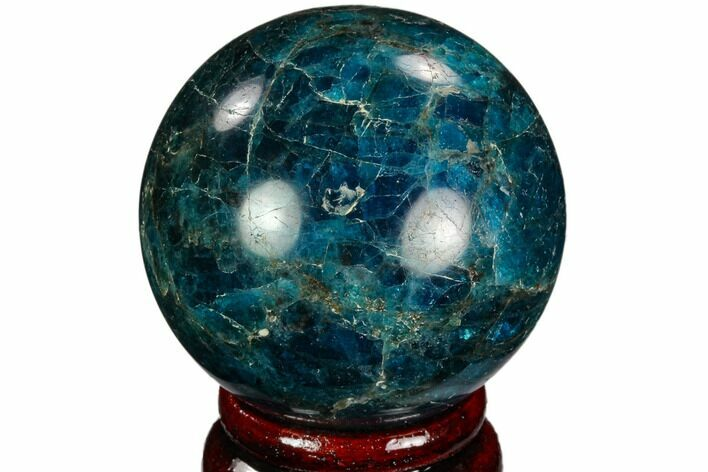 "2.19"" Bright Blue Apatite Sphere - Madagascar"