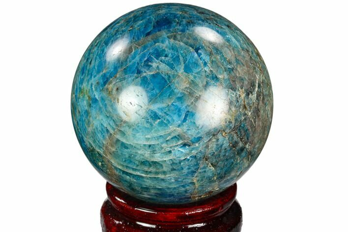 "2.25"" Bright Blue Apatite Sphere - Madagascar"
