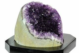 "4.4"" Tall, Dark Purple Amethyst Cluster With Wood Base - Uruguay For Sale, #121502"