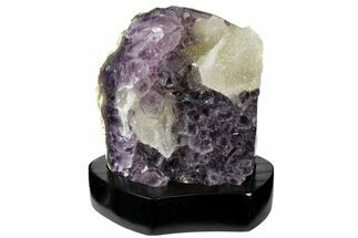 "4.9"" Tall, Amethyst Cluster With Calcite With Wood Base - Uruguay For Sale, #121259"