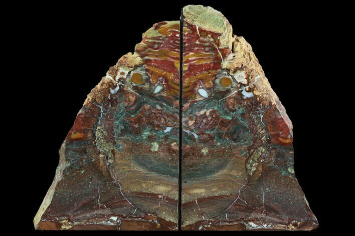 "8.8"" Red/Green Jasper Replaced Petrified Wood Bookends - Oregon"
