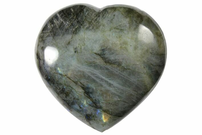 "3.8"" Flashy Polished Labradorite Heart - Madagascar"